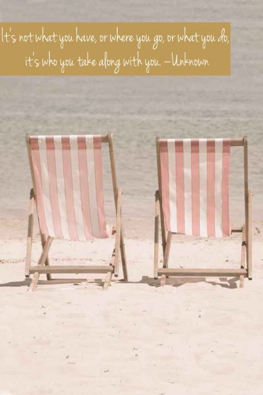 pink beach chairs + quote