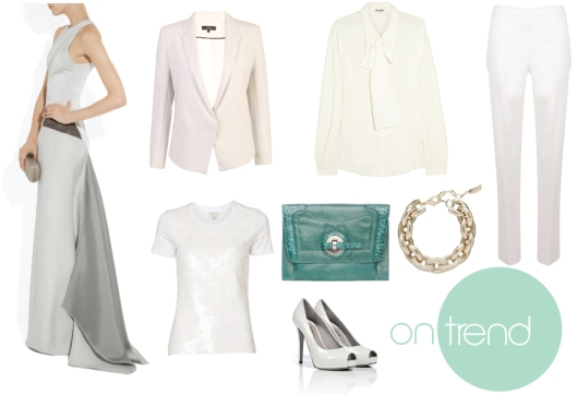 gown | jacket | blouse | pants | tee | clutch | bracelet | pumps