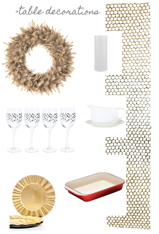 wreath | candle | table runner | wine glasses | gravy boat | gold plates | roasting dish